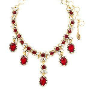 Ruby & Crystal Choker Necklace Amrita Singh NEW
